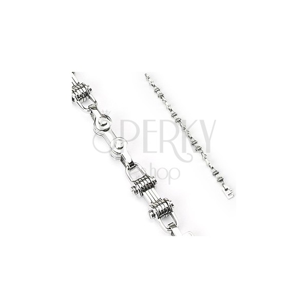 Surgical steel bracelet with pulleys
