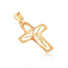 Gold pendant - cross with rays, grain cut-outs and salient Jesus