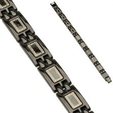 Steel bracelet with black coloured finish - glossy segments with ornaments