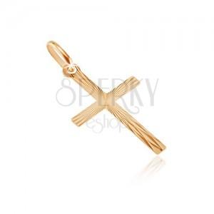 Gold 14K pendant - narrow bars with shiny rays
