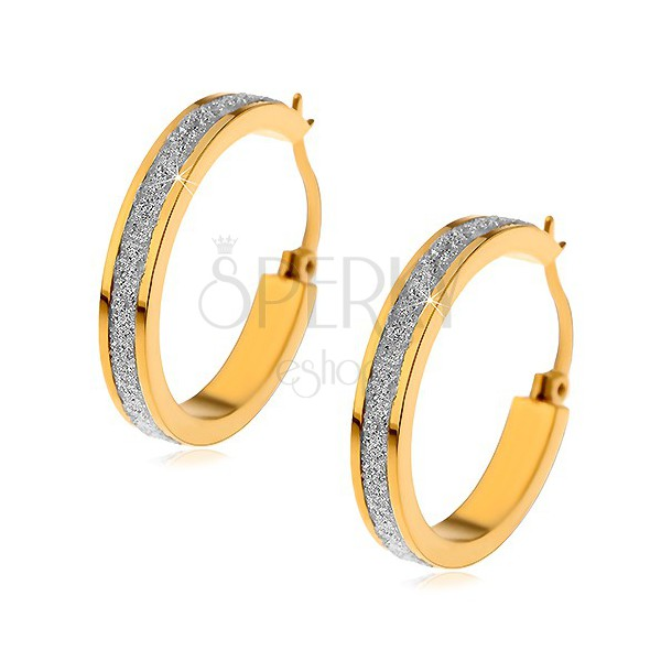 Earrings made of surgical steel in gold colour with glistening sanded strip