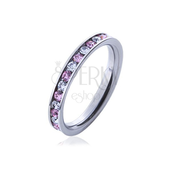 Steel ring with pink and clear stones