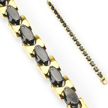 Steel bracelet with golden - black links