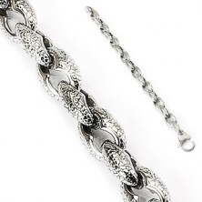 Surgical steel bracelet with scale pattern