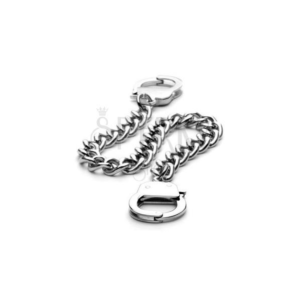 Twisted link surgical bracelet with handcuffs