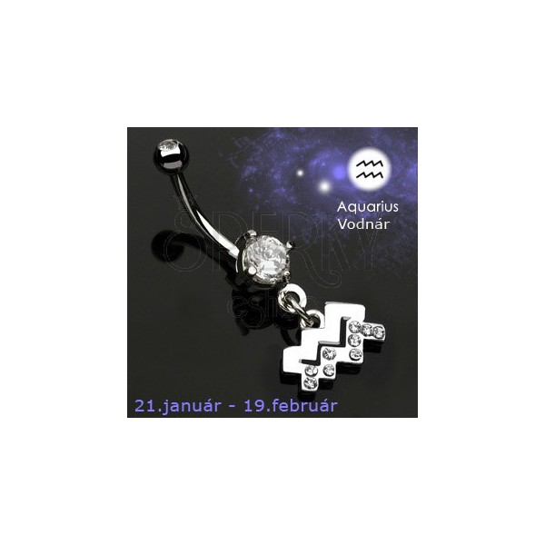 Zodiac belly button ring - Aquarius