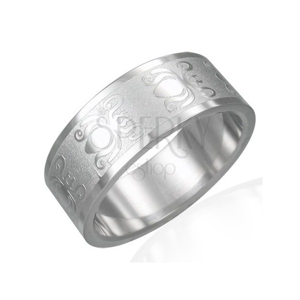 Ring made of 316L steel with shiny-matt surface - beetle motif, 8 mm