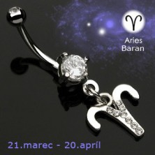 Zodiac belly button ring - Aries
