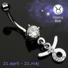 Zodiac belly button ring - Taurus