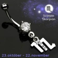 Zodiac belly button ring - Scorpio