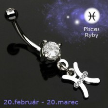 Zodiac belly button ring - Pisces