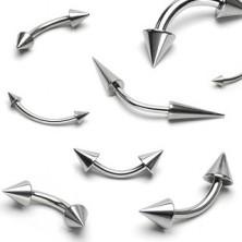 Eyebrow steel piercing - two glossy spiky peaks