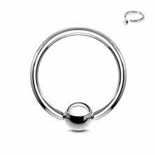 Steel piercing - circle and ball of silver colour, width 1,6 mm