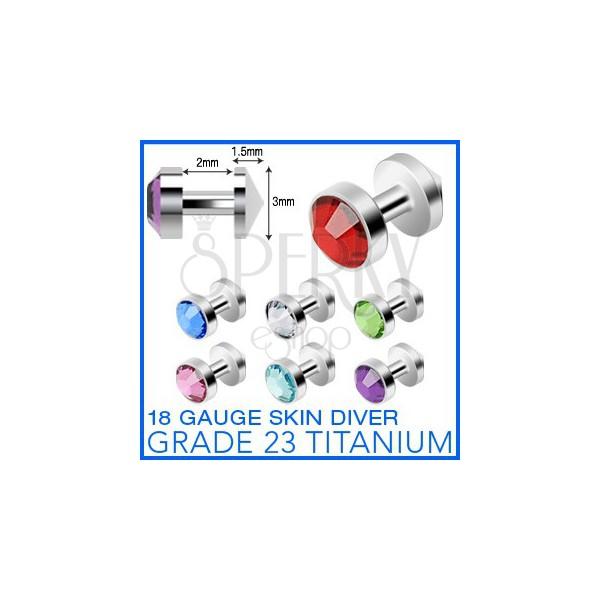 """Titanium """"skin diver"""" implantate with zircon"""