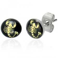Steel earrings - scorpion in yellow colour on a black background, clear glaze