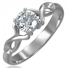 Engagement ring with zircon and double steel ribbon