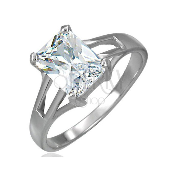 Engagement ring with big rectangular zircon and cut-out parts