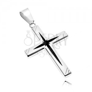 Surgical steel pendant - cross with black centre