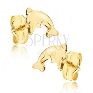 Shiny earrings made of yellow 14K gold - bent body of leaping dolphin