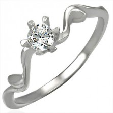 Engagement ring with zircon in beautiful setting
