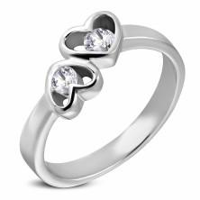 Double heart steel ring