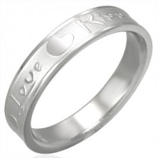 Steel ring of silver colour, matte middle and shiny edges, Love & Kiss