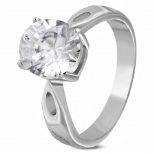 Engagement ring made of 316L steel with big zircon and decorative strips