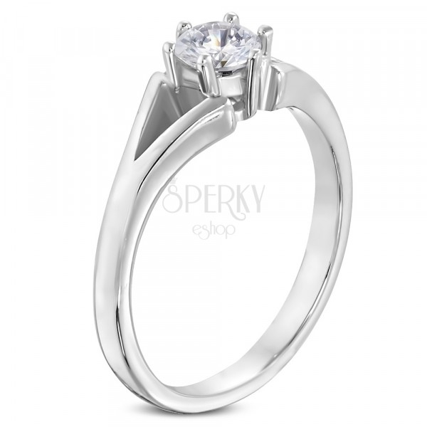Steel ring in silver colour - engagement, split shoulders, clear zircon
