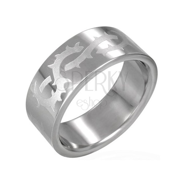 Stainless steel ring with matt thorns