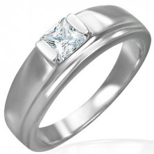 Engagement ring made of surgical steel, square zircon on raised base