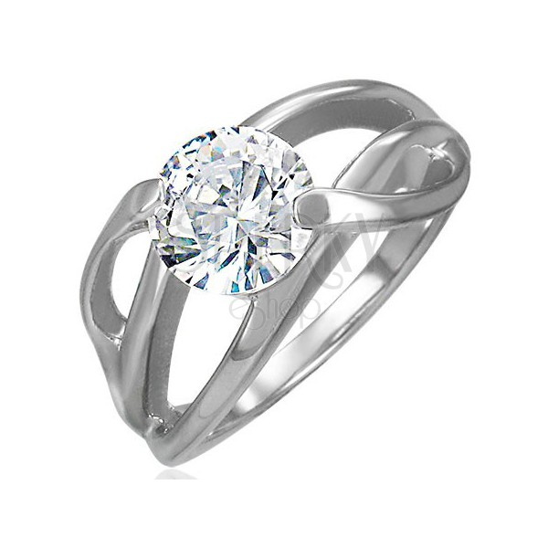 Engagement ring with diagonal setting and round clear zircon, 316L steel