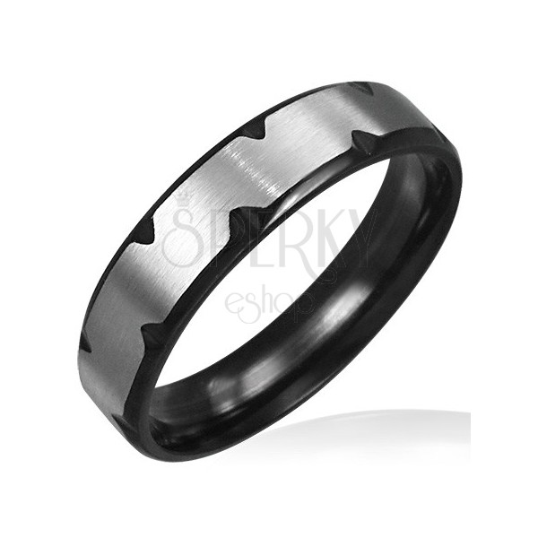 Stainless steel ring with black cuts