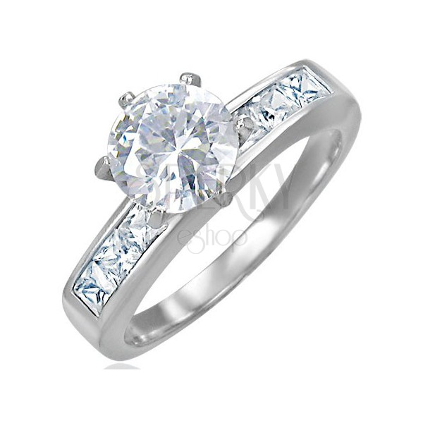 Engagement steel ring with protruding zircon in the middle