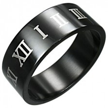 Black stainless steel ring with brown Roman numerals