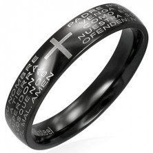 Black stainless steel ring with religious prayer text