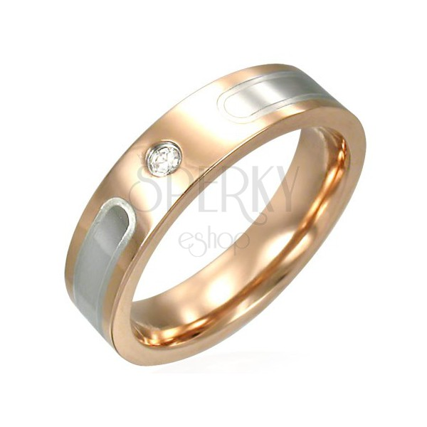 Stainless steel ring in copper colour with silver lines