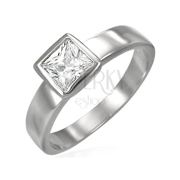 Steel ring in silver colour, clear square zircon in mount