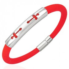 Round silicone bracelet - 2 crosses, orange