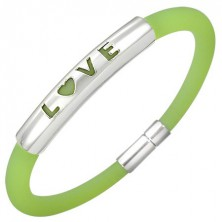 Rubber bracelet in a green shade - metal plate with a writing LOVE
