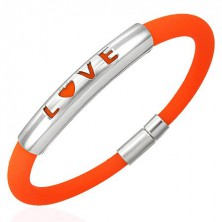 Orange silicone bracelet - LOVE