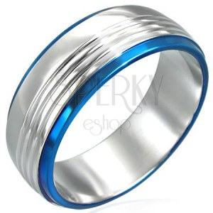 Stainless steel ring with two blue lines