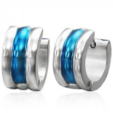 Huggie steel earrings - silver and blue stripes