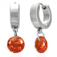Steel dangling earrings, orange zircon