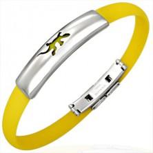 Yellow silicone bracelet - small lizard
