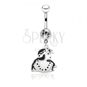 Belly Button Piercing Made Of Surgical Steel Black And White