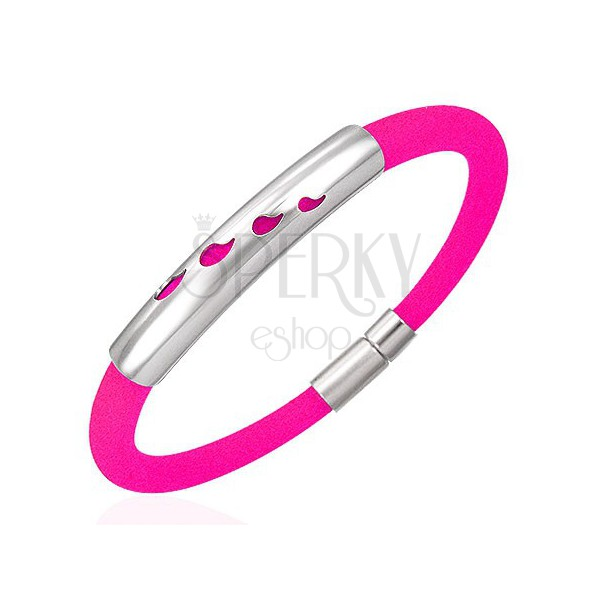 Rubber bracelet with metal ID plate - drops, neon pink