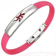 Caoutchouc bracelet - lizard on tag, pink
