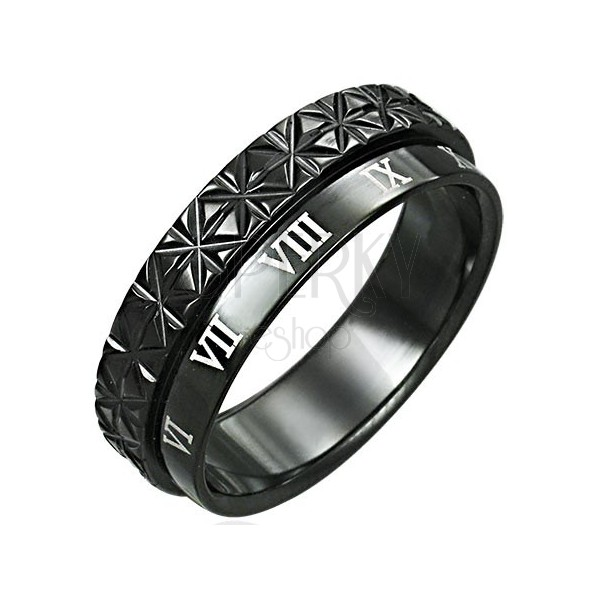 Stainless steel double ring - Roman numerals