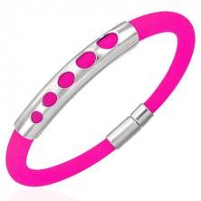 Rubber bracelet - five rising circles, neon pink