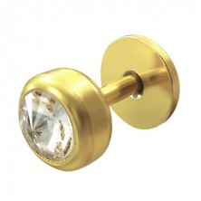 Gold plated labret with zircon